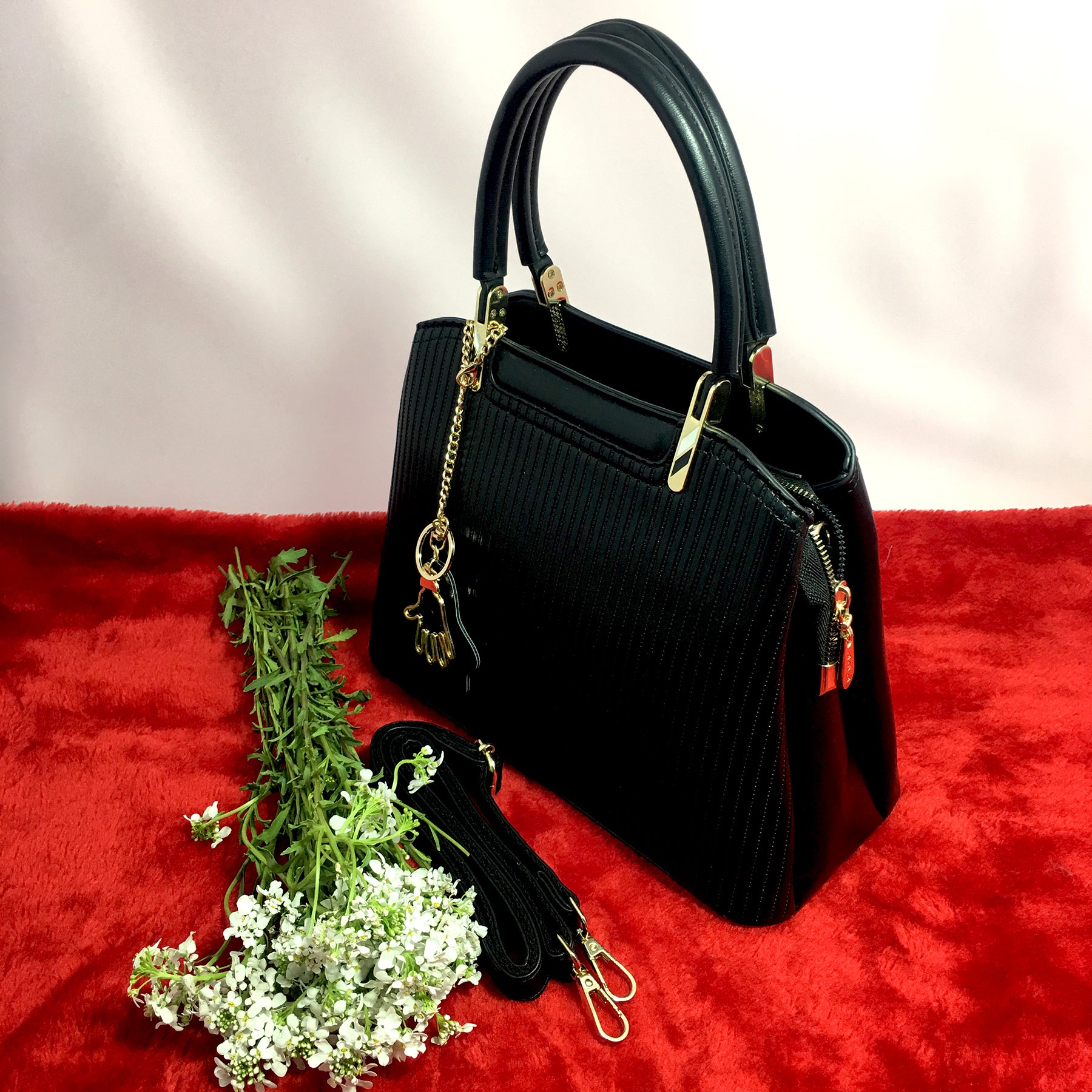 Ficuster Black Solid Handbag
