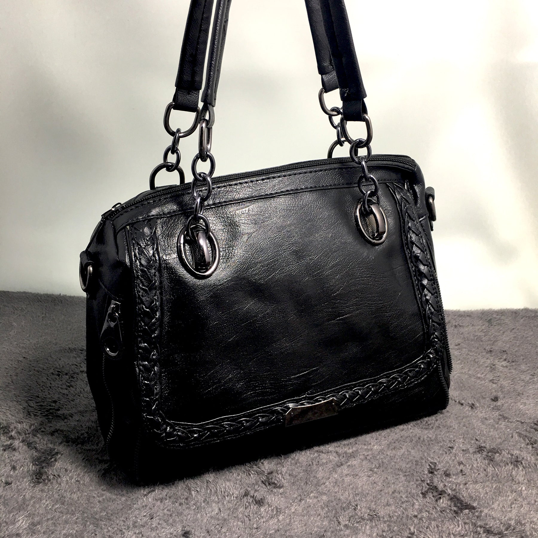 Ficuster Solid Black Handbag