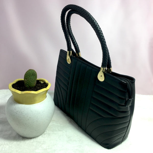 Ficuster Black Faux Leather Handbag