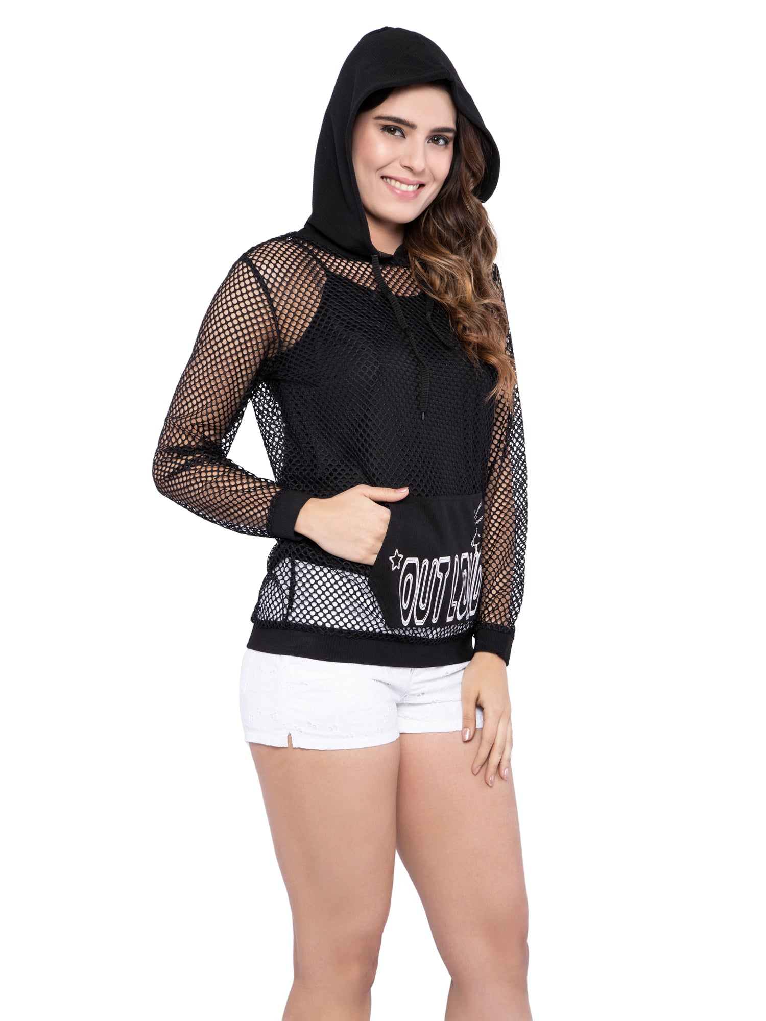 Ficuster Women Fishnet Drawstring Black Hoodie