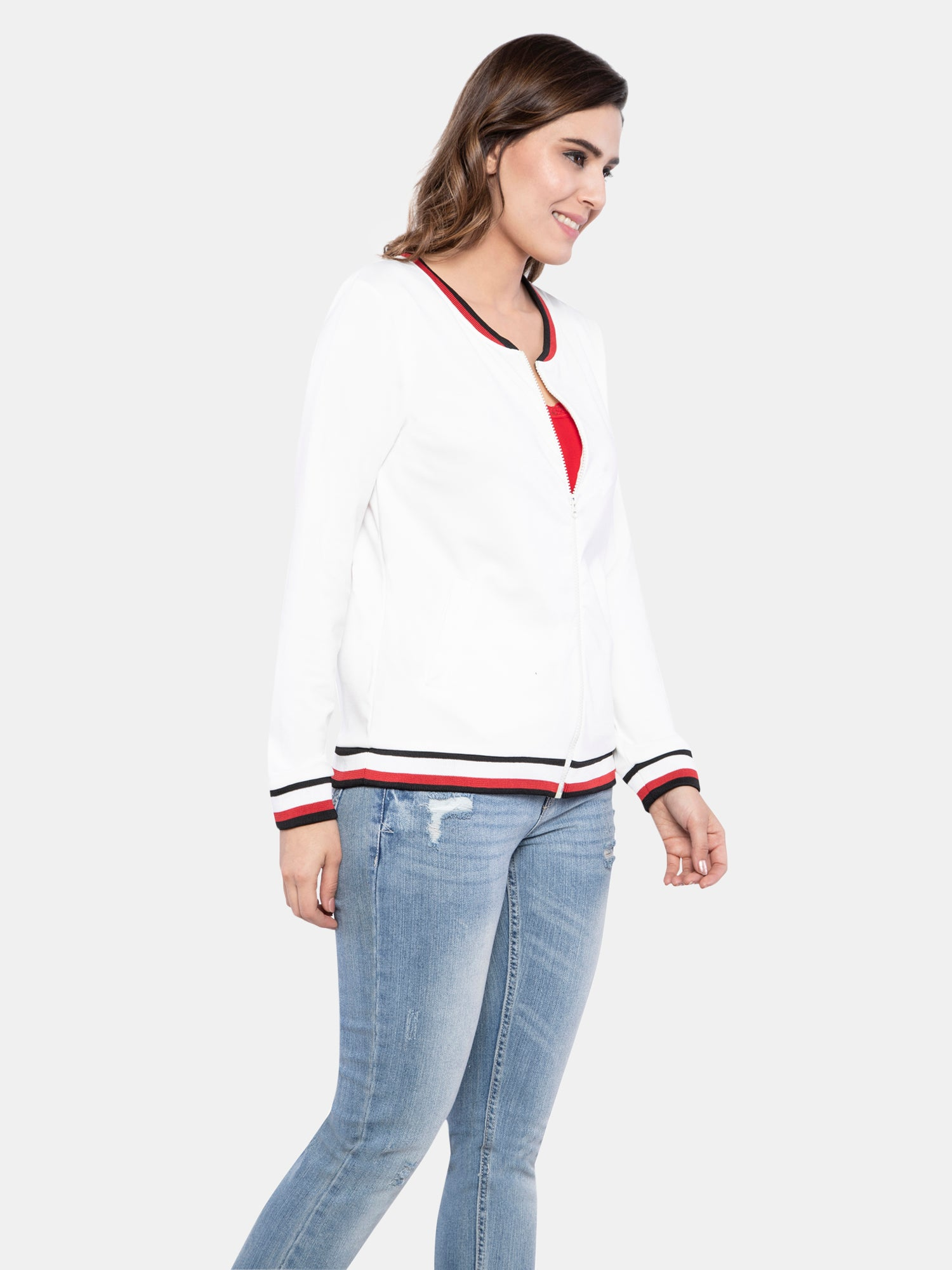 Ficuster Women White Solid Bomber Jacket