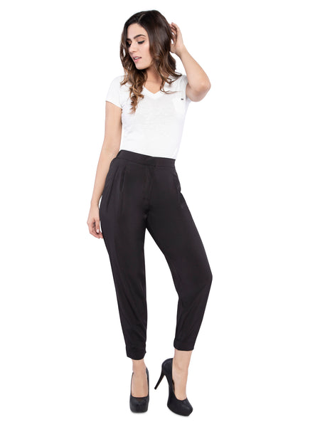 Ficuster Women Black Solid Trouser