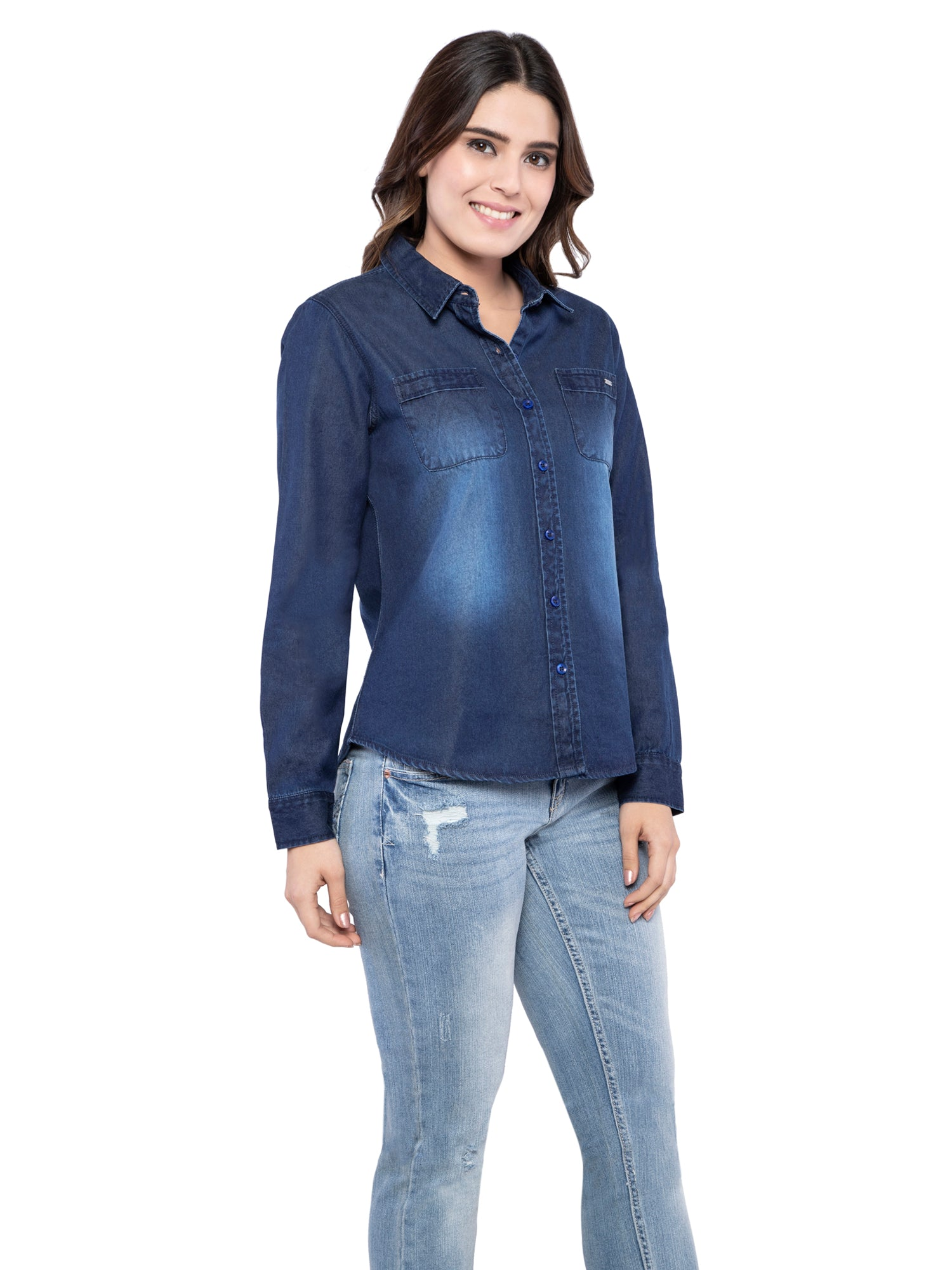 Ficuster Women Dark Blue Denim Casual Shirt