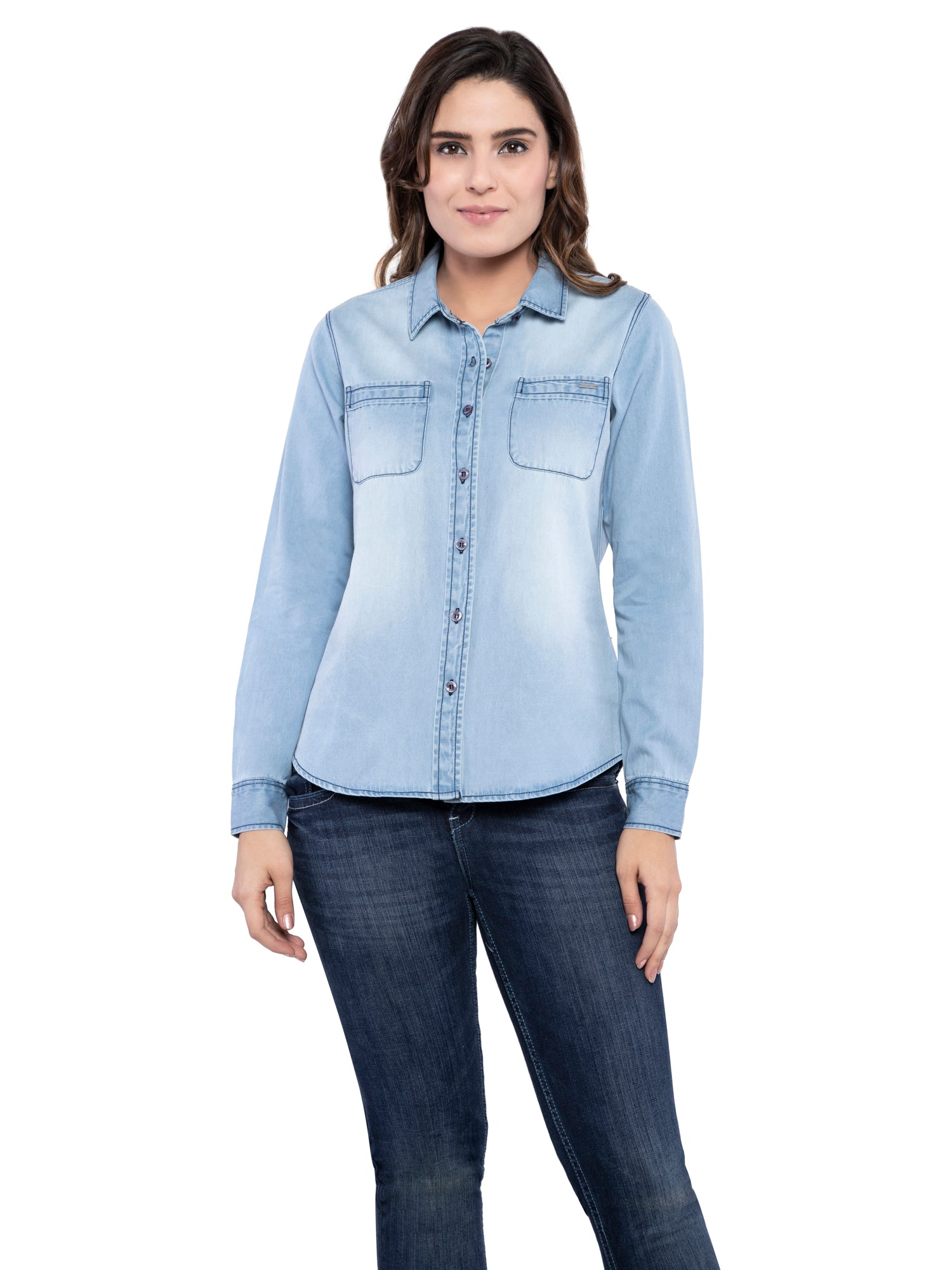 Ficuster Women Light Blue Denim Casual Shirt