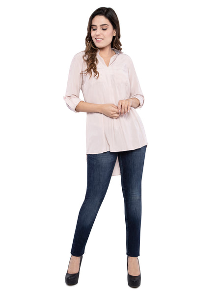 Ficuster Women Solid Peach Loose Fit Casual Shirt