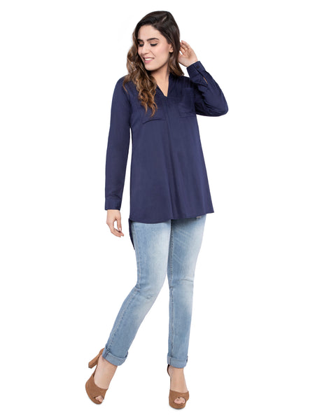 Ficuster Women Solid Blue Loose Fit Casual Shirt