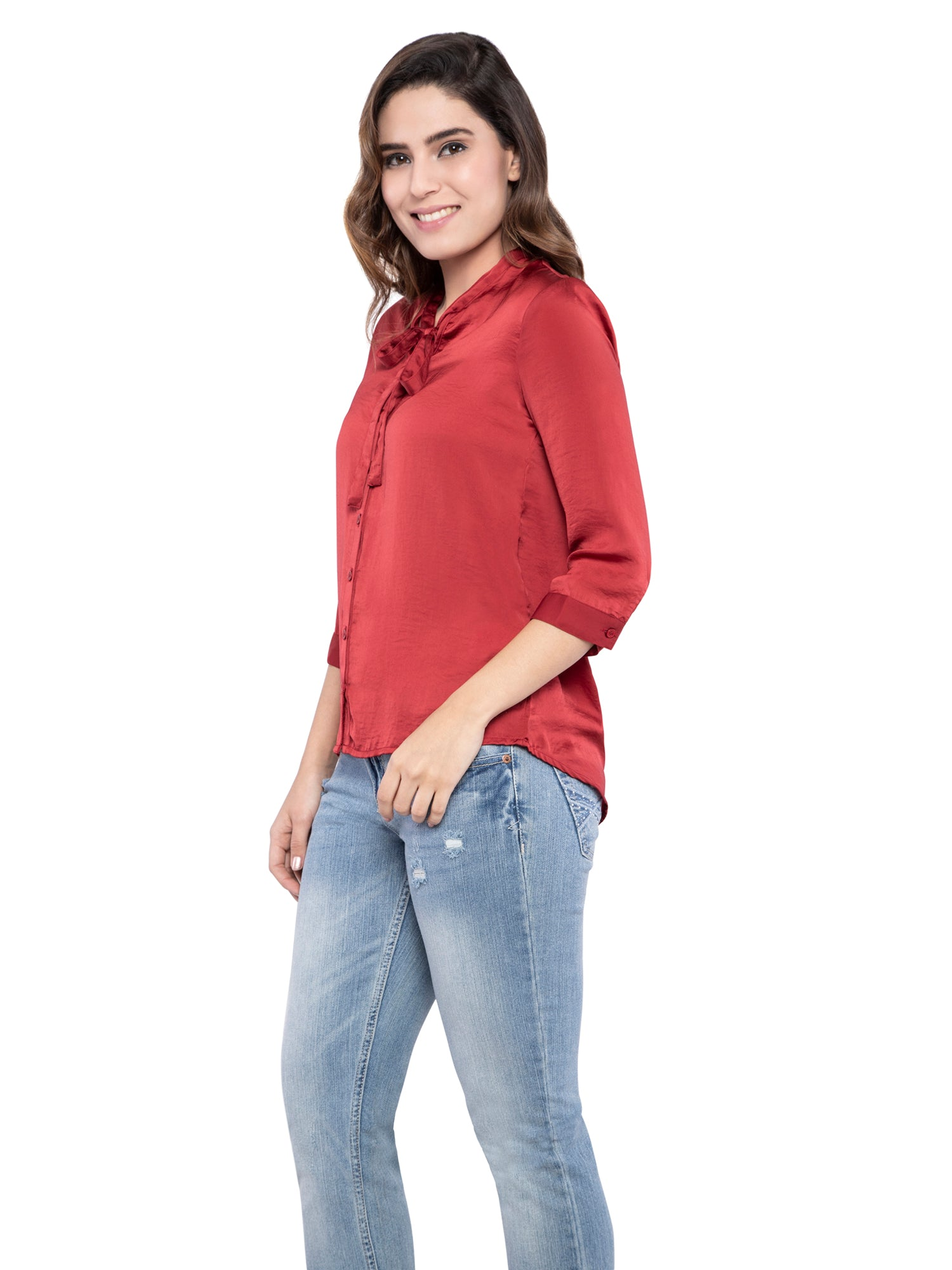 Ficuster Women Solid Maroon Casual Shirt