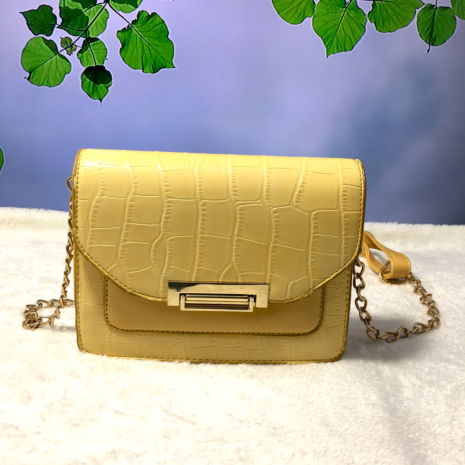 Ficuster Croc Pattern Yellow Sling Bag