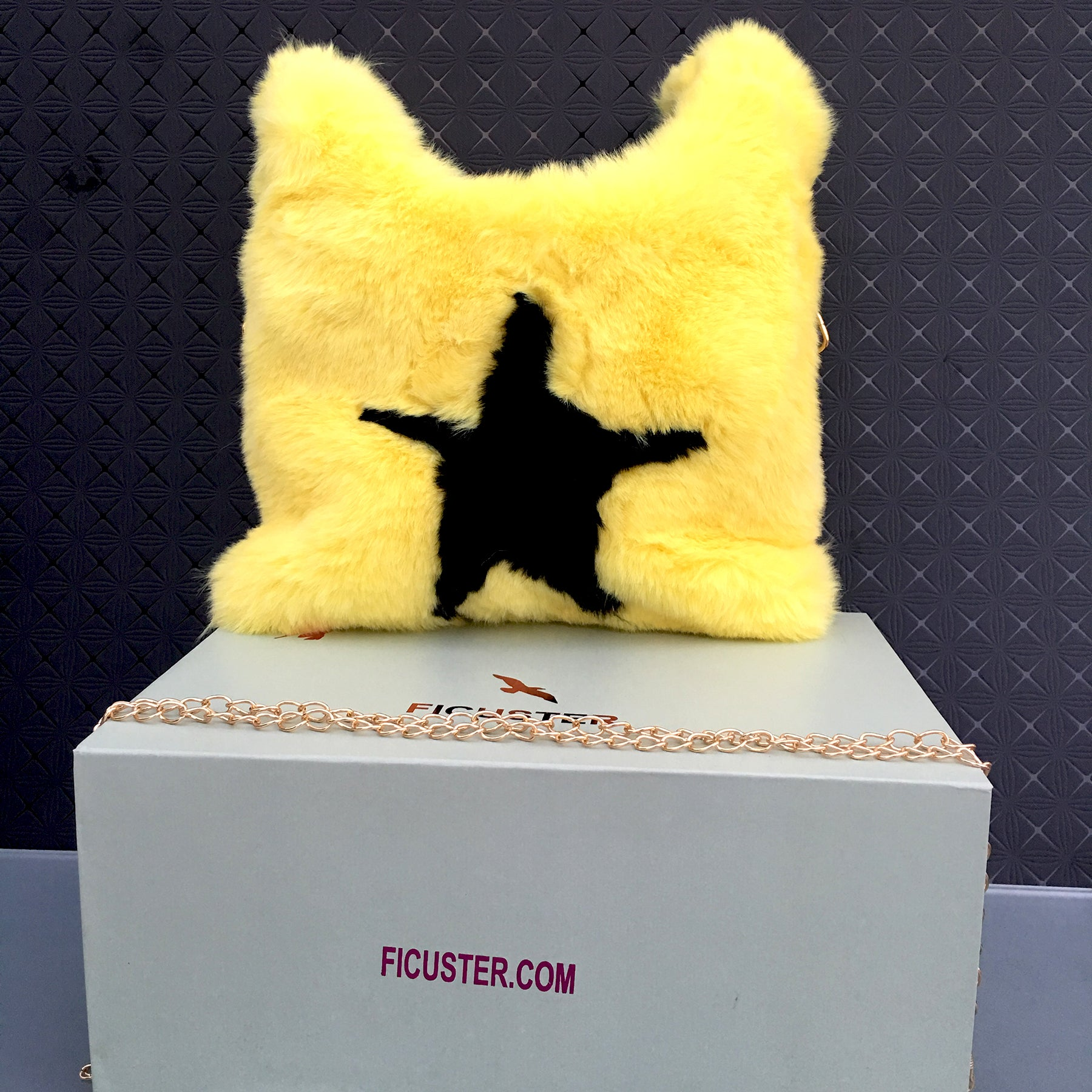 Ficuster Faux Fur Yellow Sling Bag