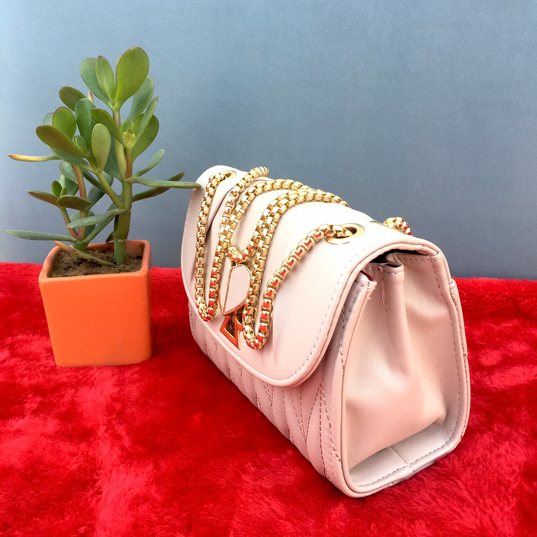 Ficuster Peach Solid Sling Bag