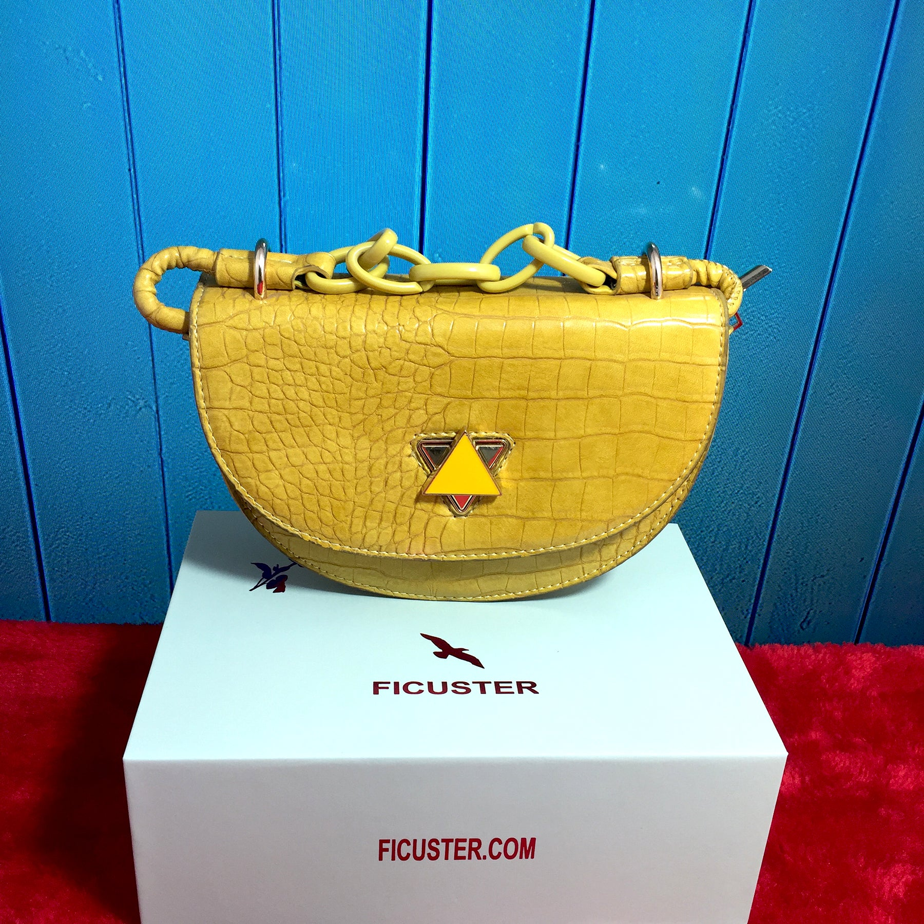 Ficuster Yellow Croc Pattern Sling Bag