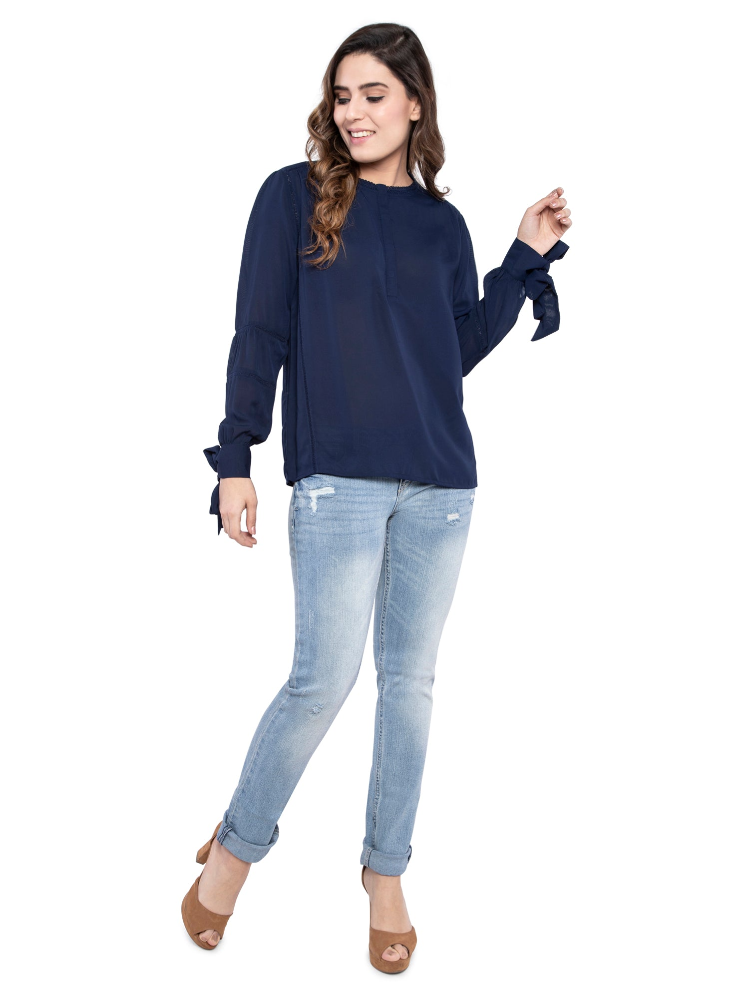 Ficuster Women Chiffon Navy Blue Top
