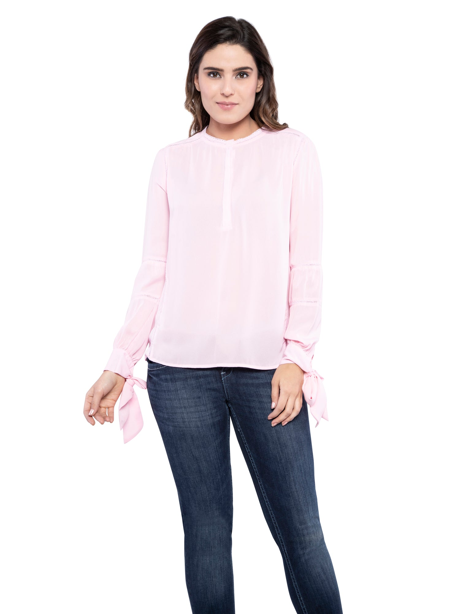 Ficuster Women Chiffon Light Pink Top