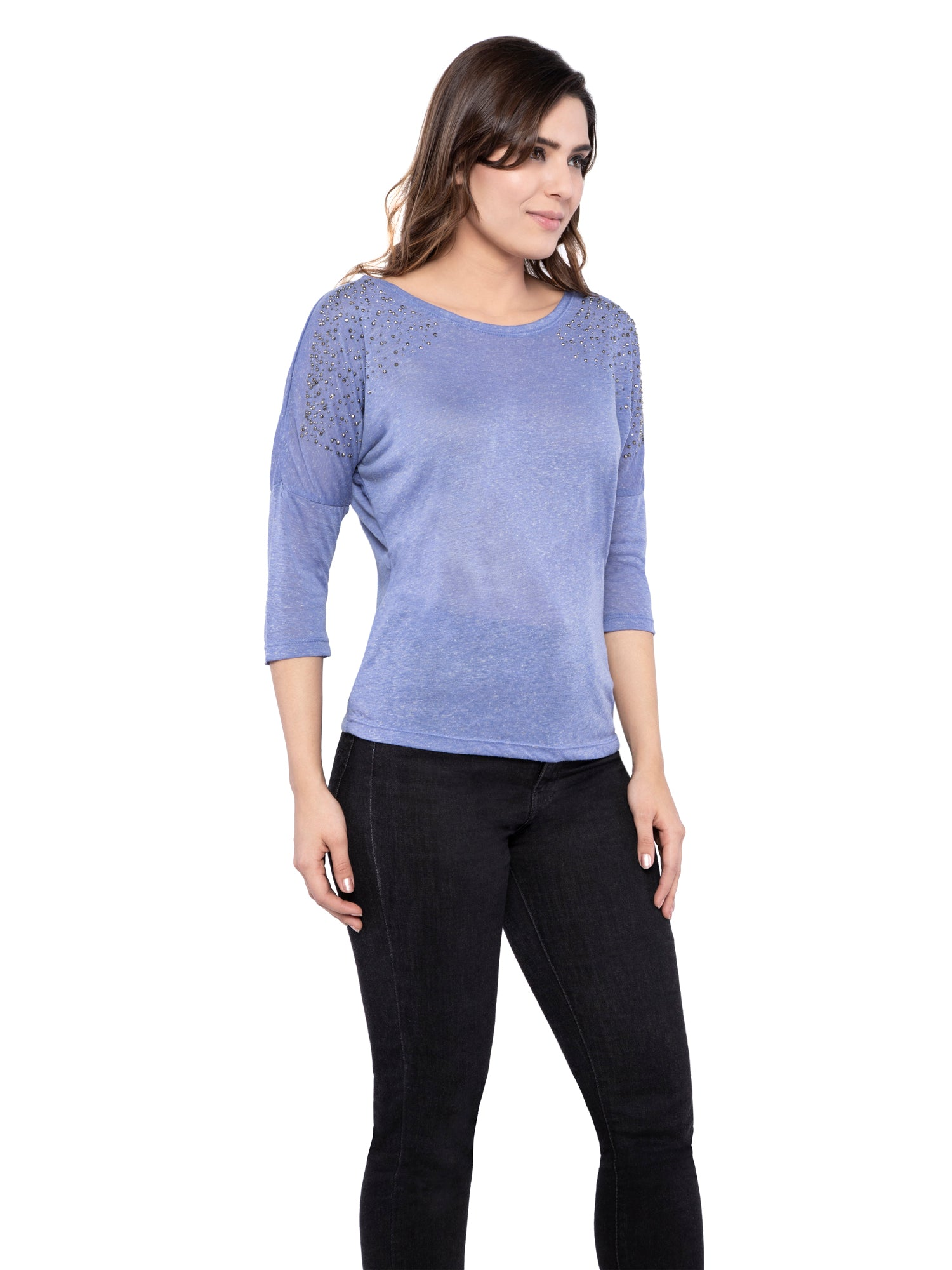 Ficuster Women Pearl Beaded Blue Top