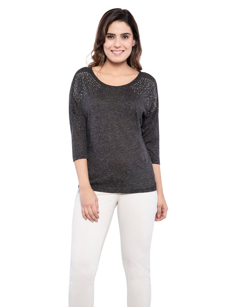 Ficuster Women Pearl Beaded Grey Top