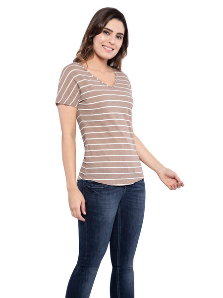 Ficuster Women V-Neck Brown Top