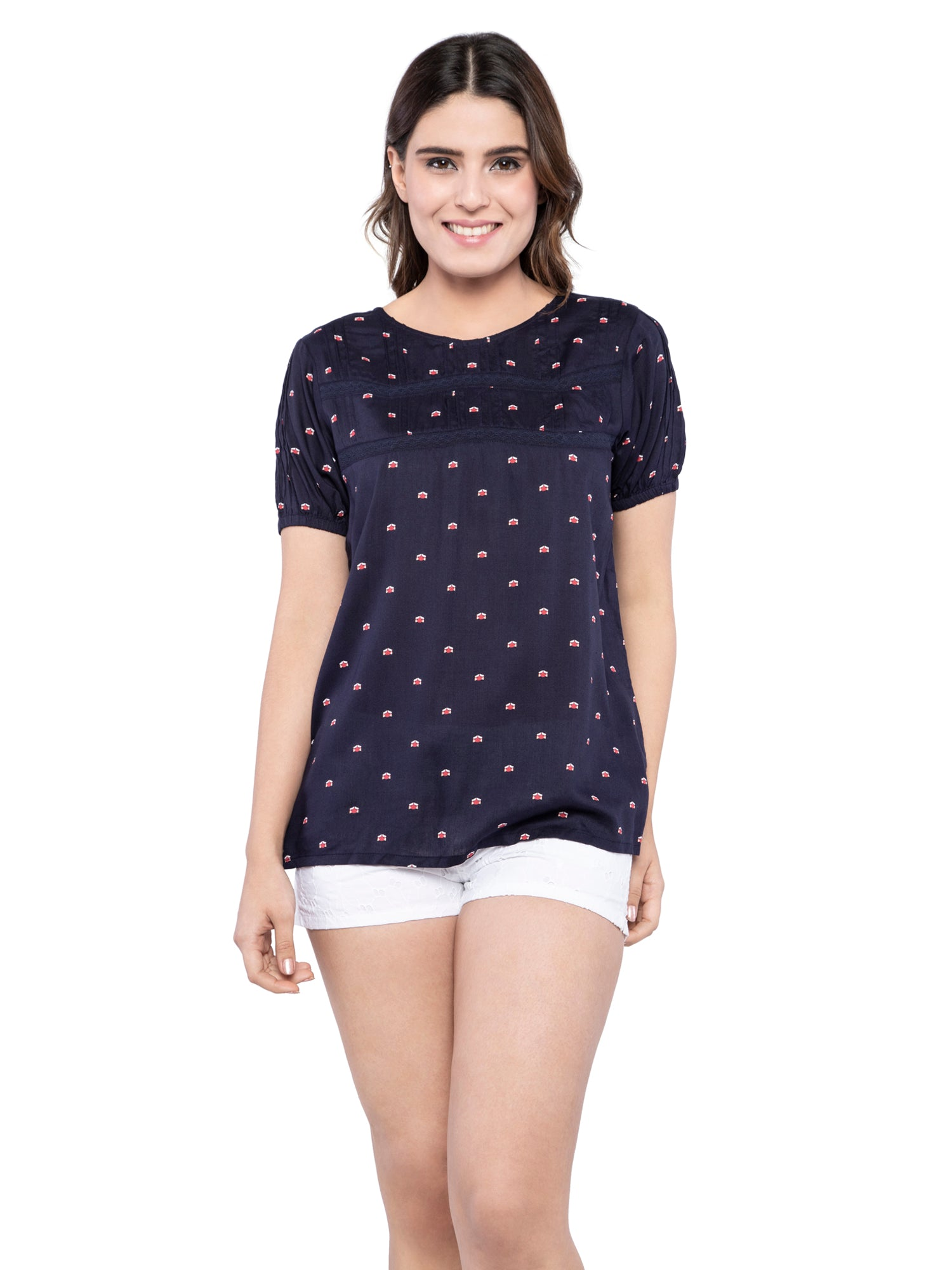 Ficuster Women Keyhole Back Floral Navy Blue Top
