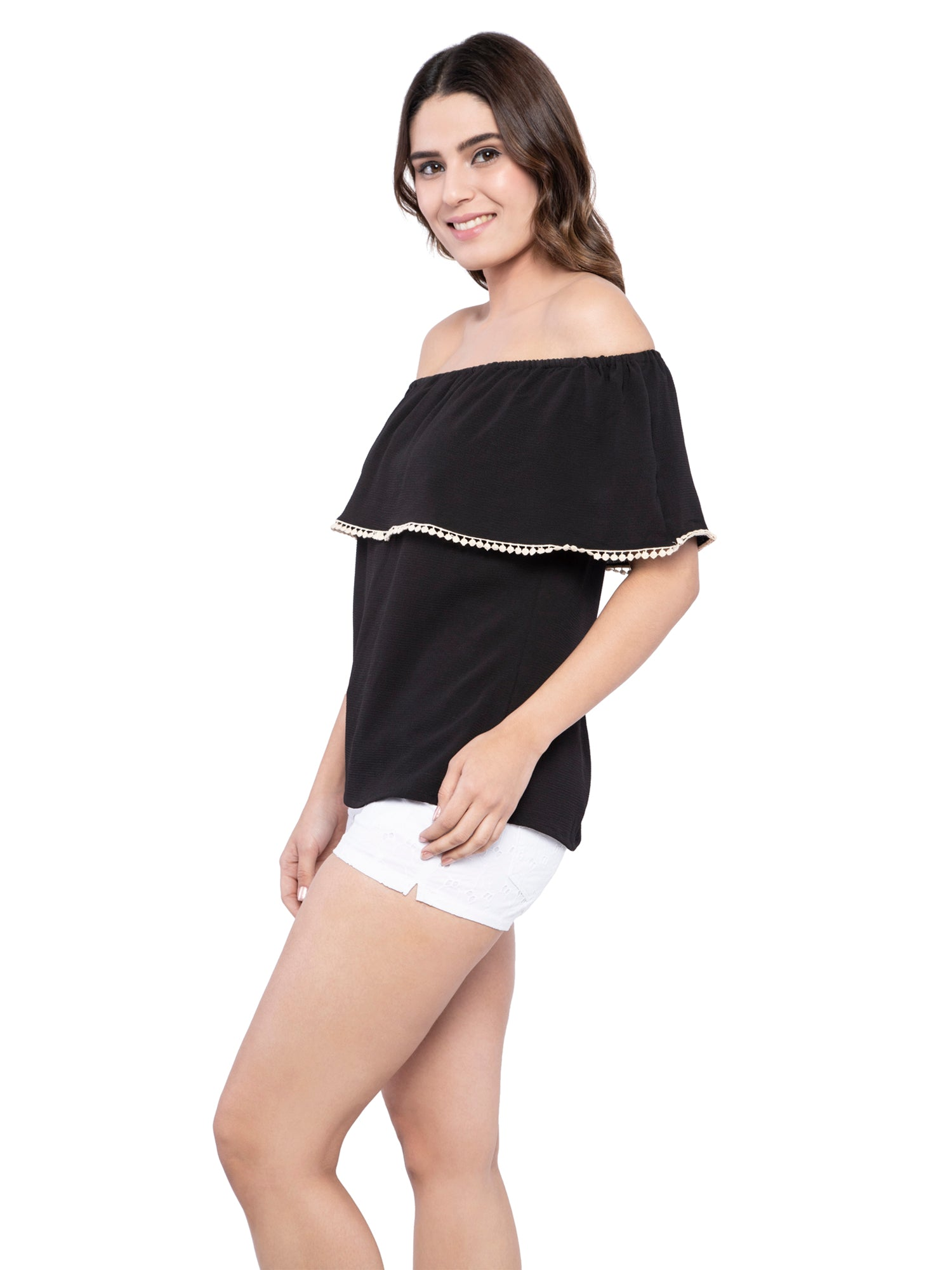 Ficuster Women Off Shoulder Solid Black Top