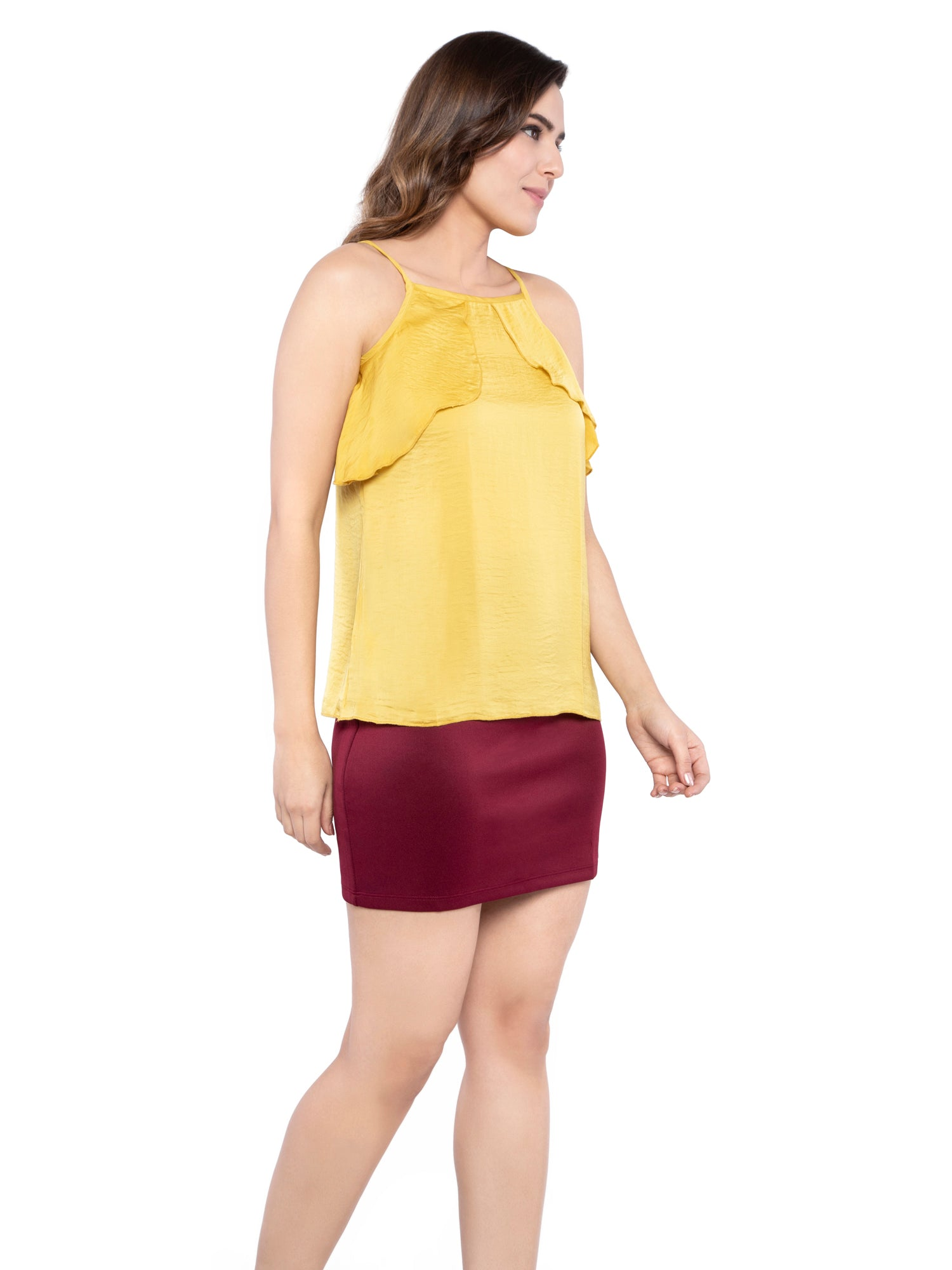 Ficuster Women Yellow Satin Wrap Cami Top