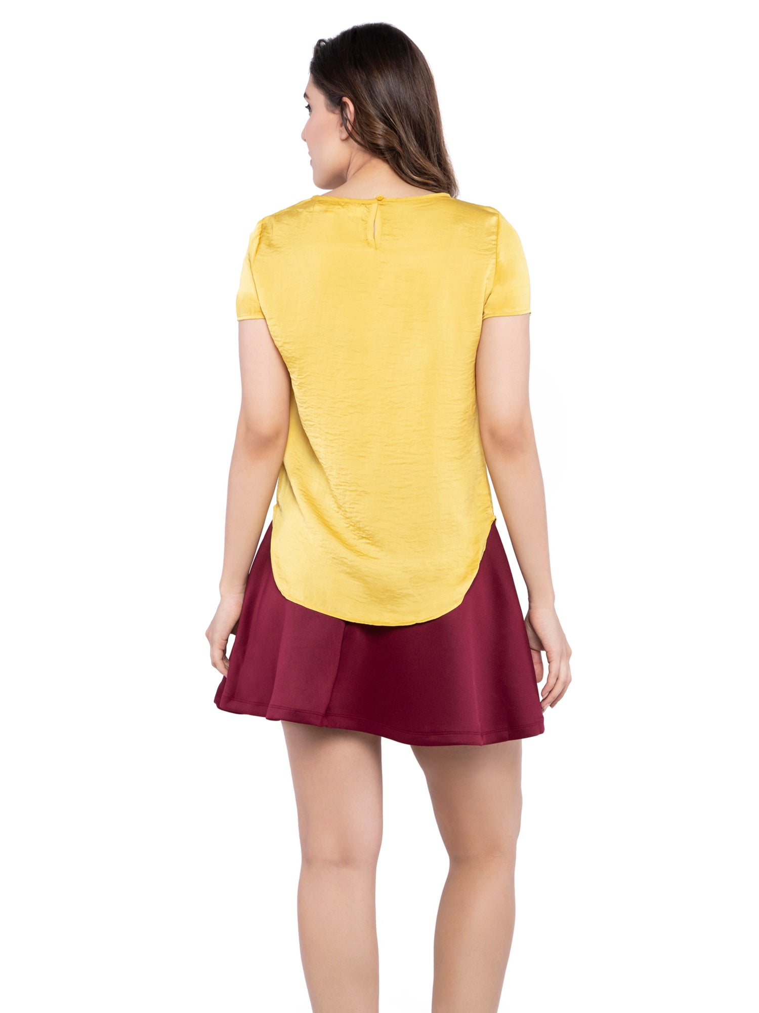 Ficuster Women Yellow Satin Top