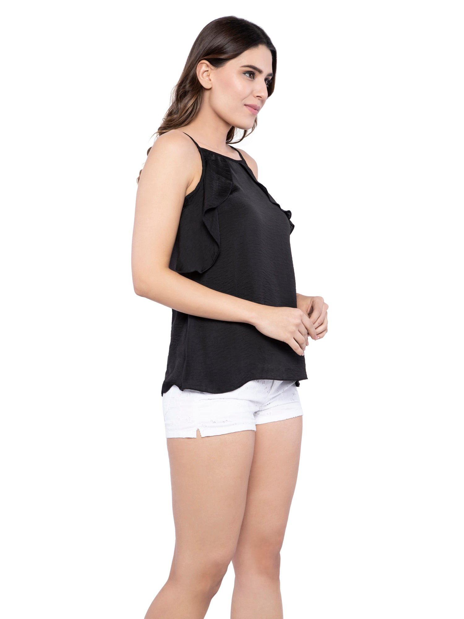 Ficuster Women Black Satin Wrap Cami Top