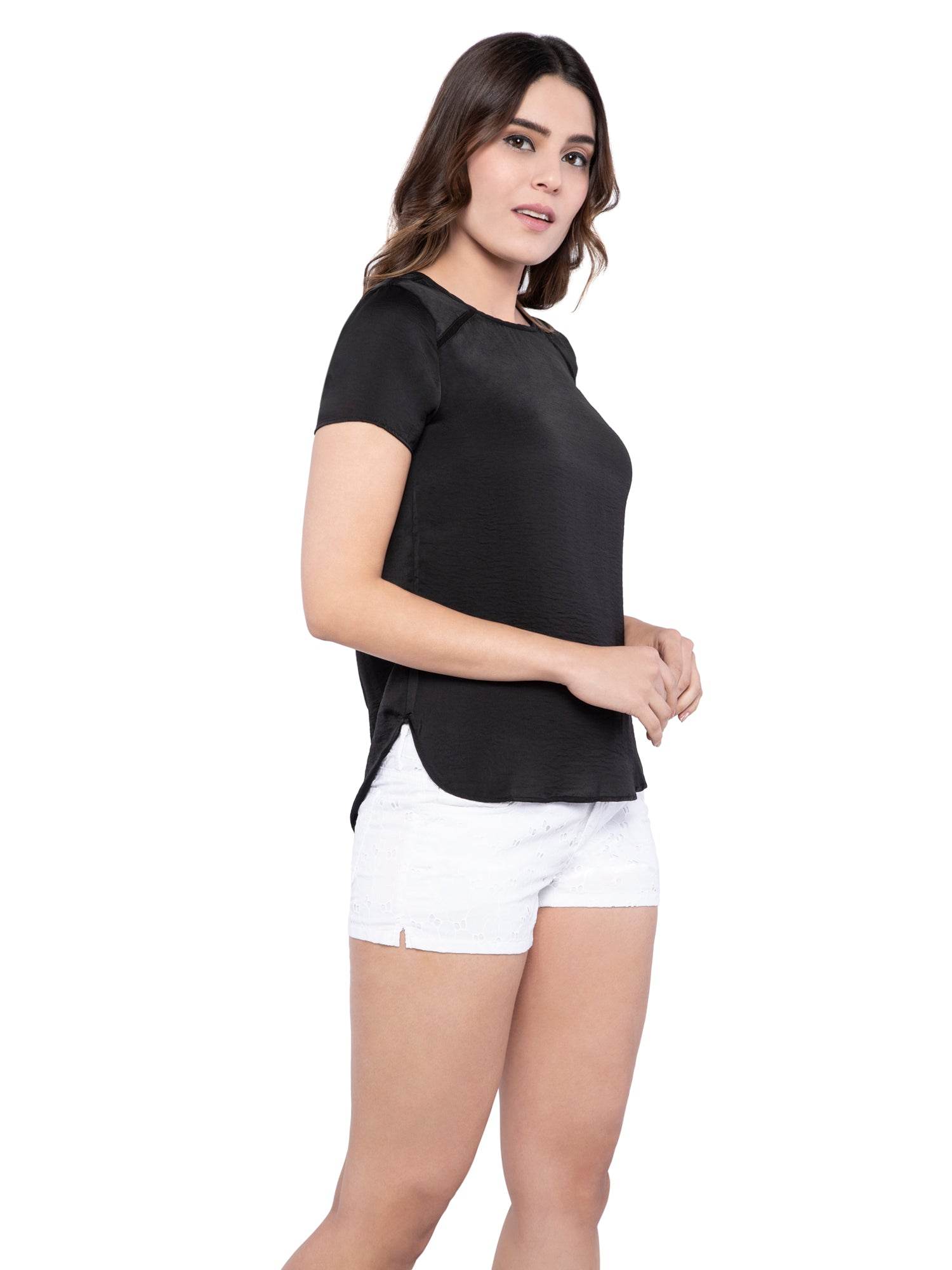 Ficuster Women Black Satin Top