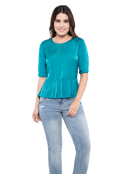 Ficuster Women Turquoise Flare Satin Top