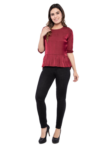 Ficuster Women Maroon Top