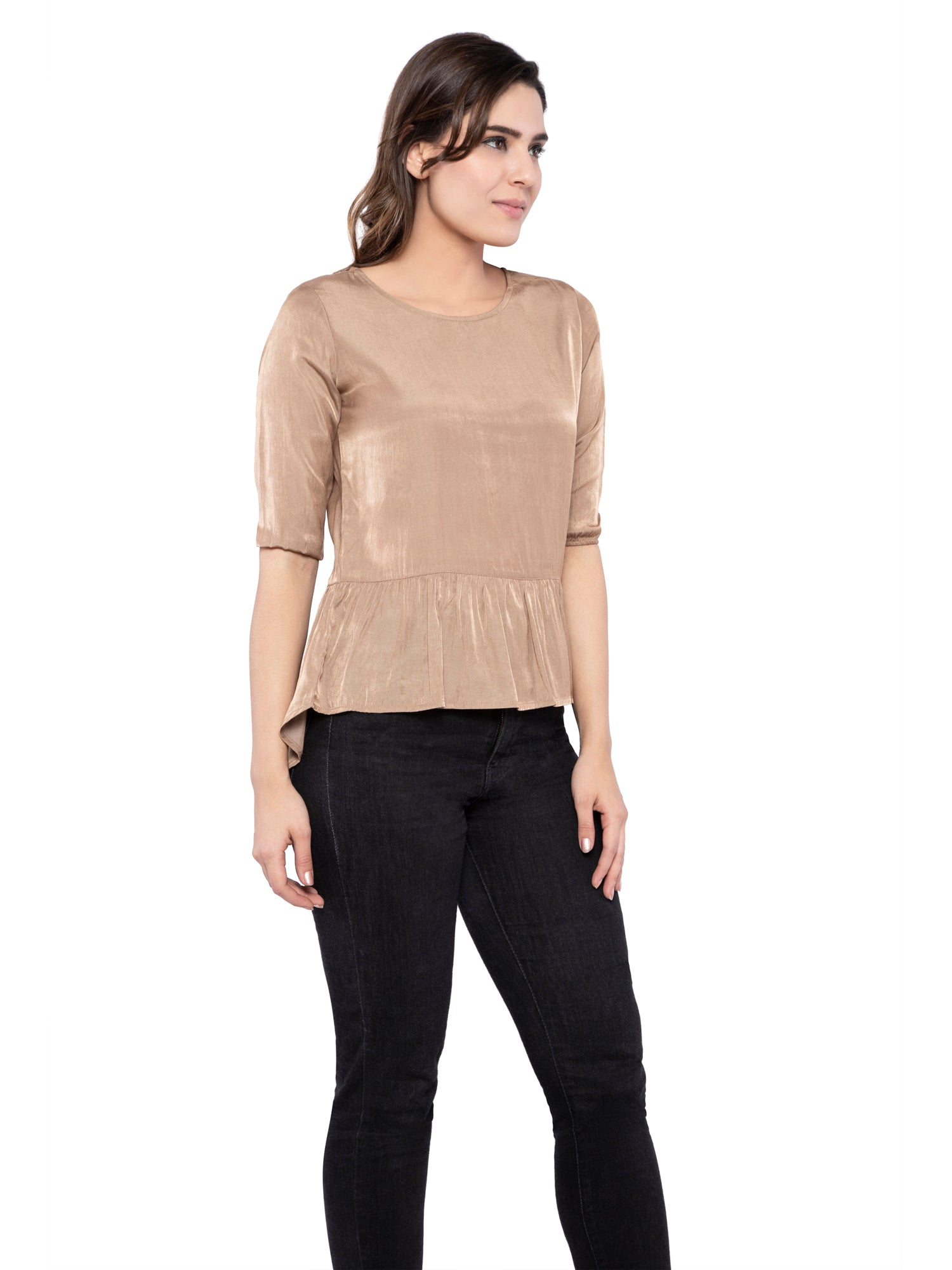 Ficuster Women Tan Flare Satin Top