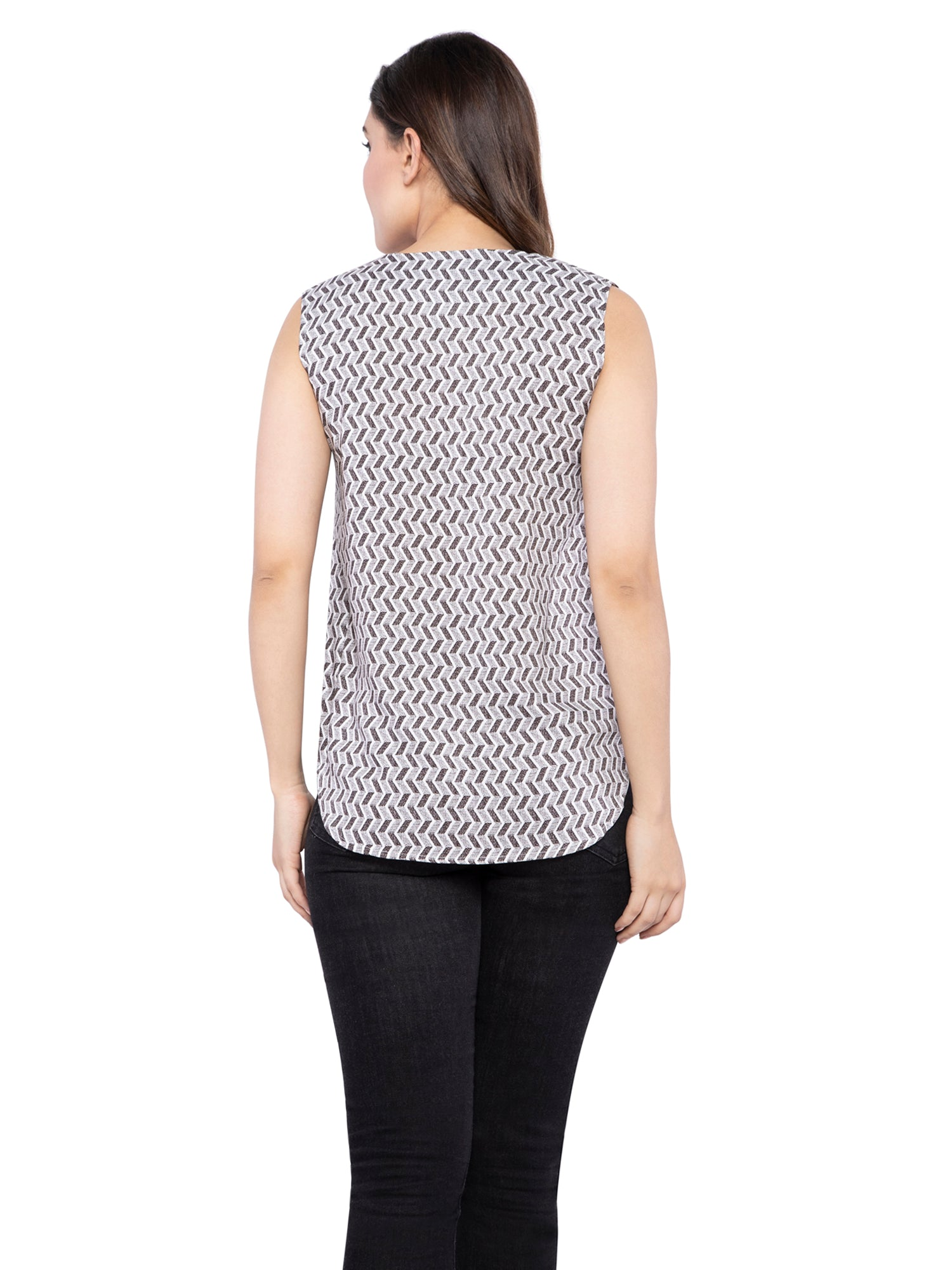 Ficuster Women V-Neck Grey Top