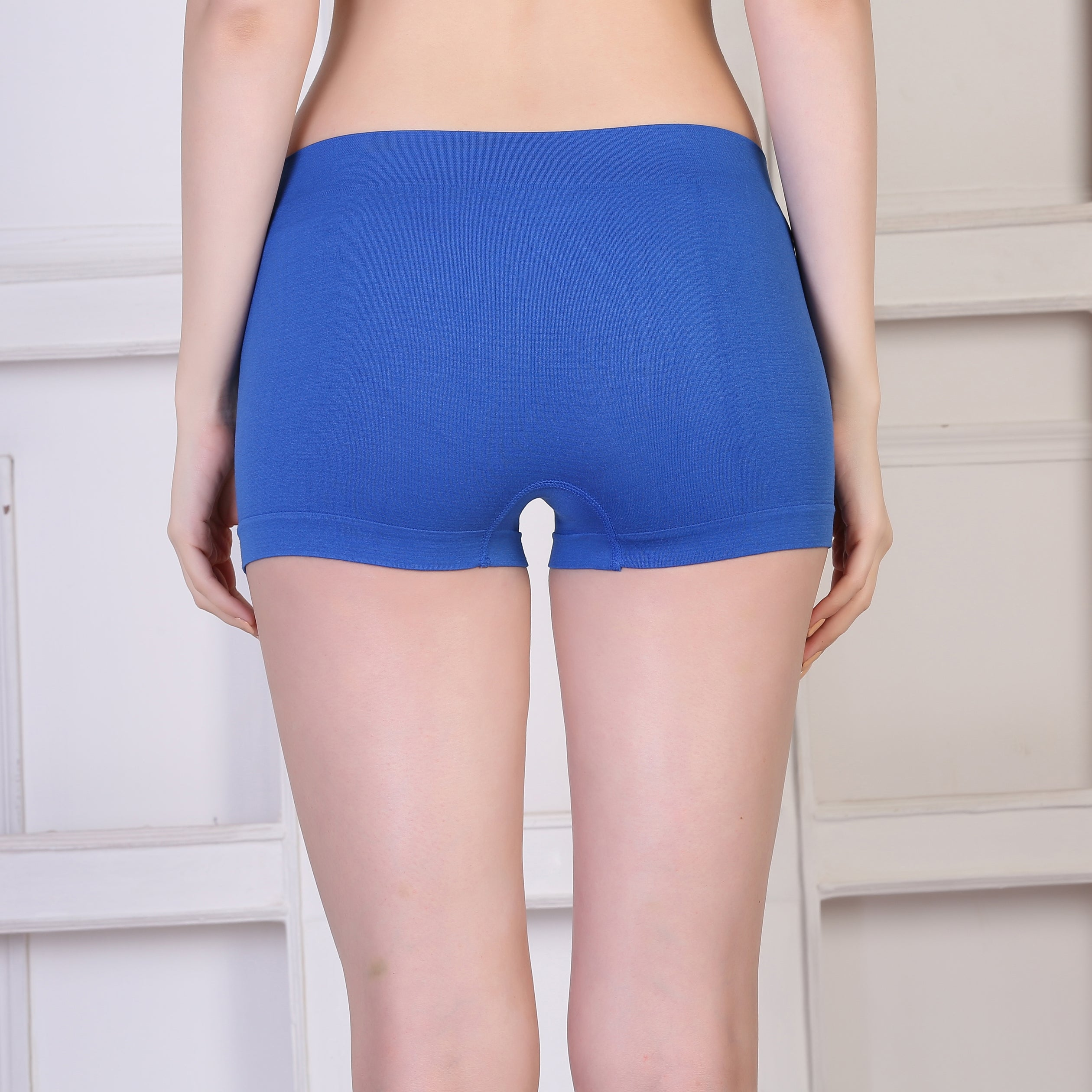 Ficuster Blue Solid High Rise Boyshort Panty