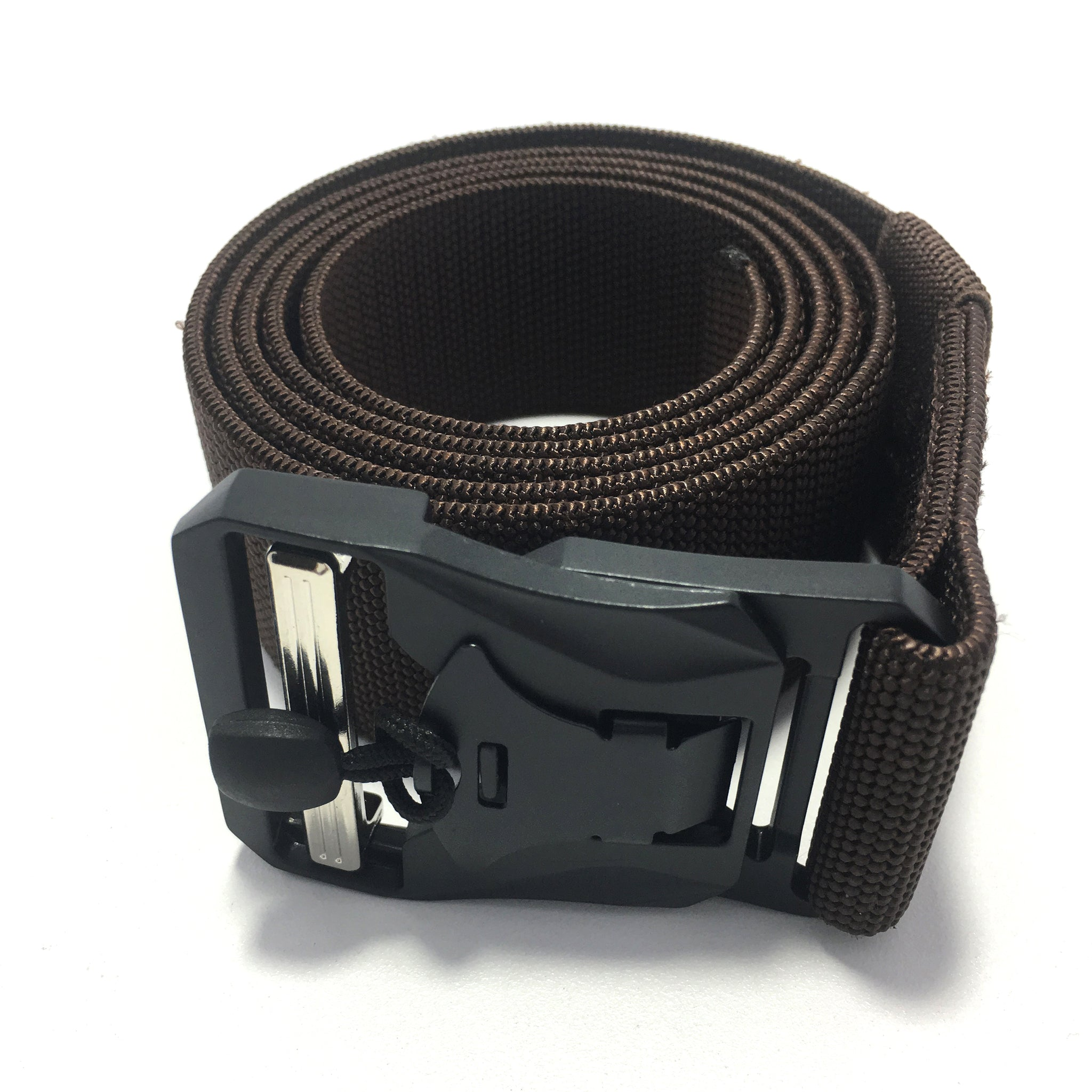 Ficuster Unisex Brown Metal Auto Lock Magnetic Buckle Nylon Canvas Braided Belt