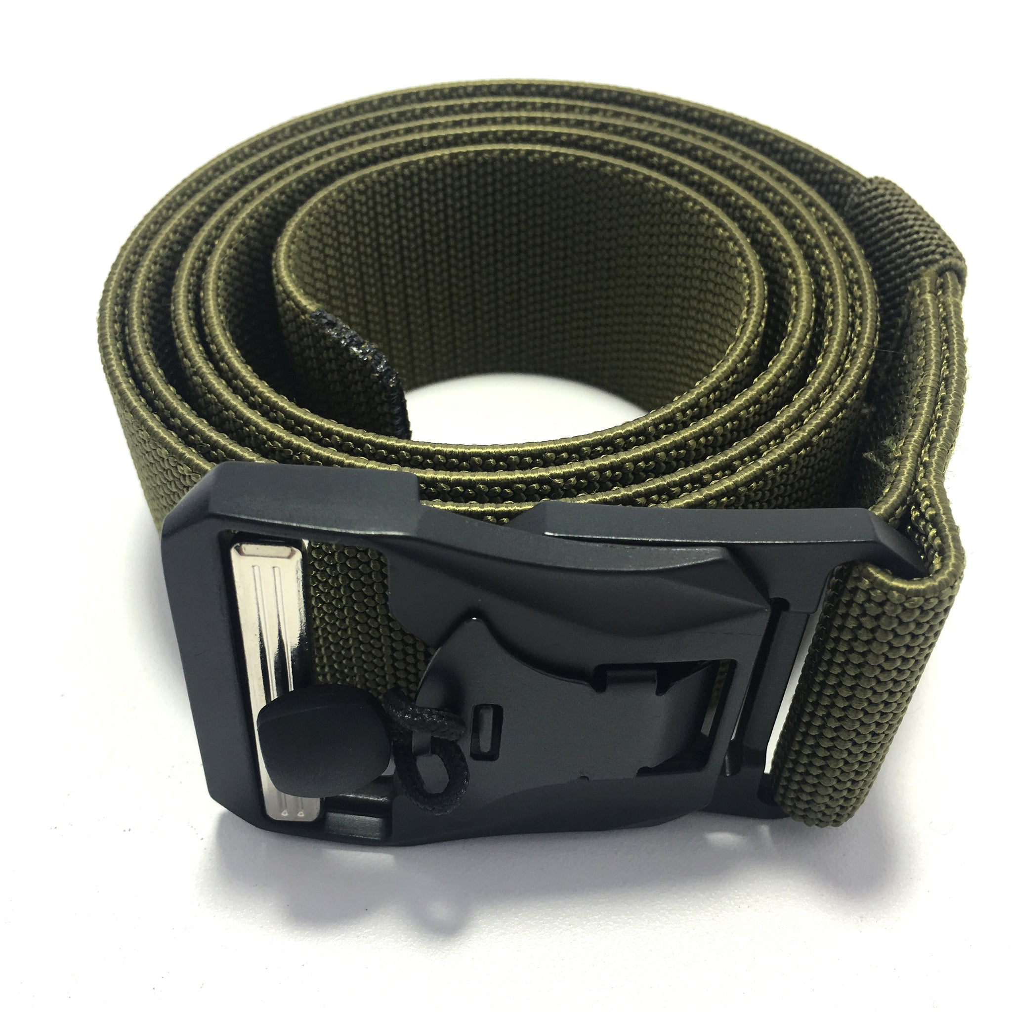 Ficuster Unisex Military Green Metal Auto Lock Magnetic Buckle Nylon Canvas Braided Belt
