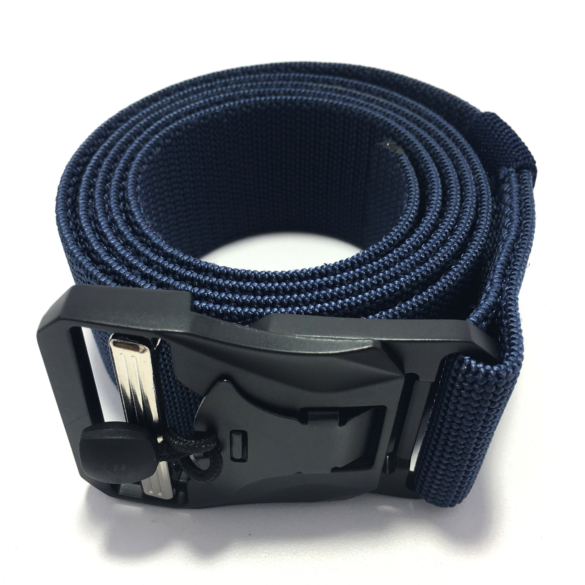 Ficuster Unisex Blue Metal Auto Lock Magnetic Buckle Nylon Canvas Braided Belt