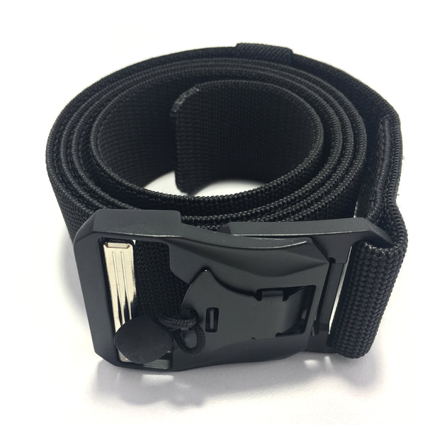 Ficuster Unisex Black Metal Auto Lock Magnetic Buckle Nylon Canvas Braided Belt