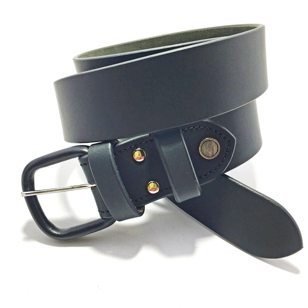 Ficuster Men Leather Coated Buckle Black Genuine Leather Belt