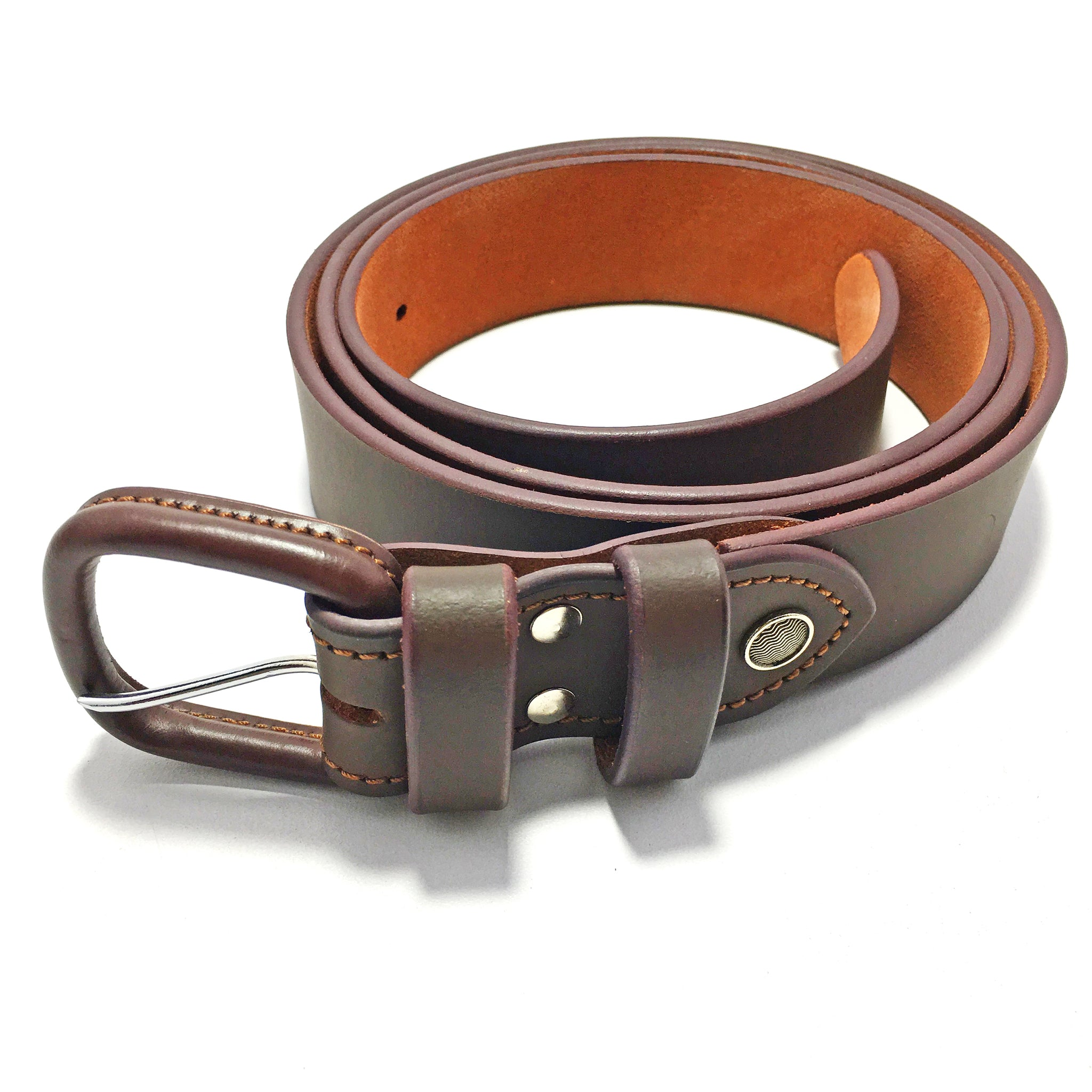 Ficuster Men Leather Coated Buckle Brown Genuine Leather Belt