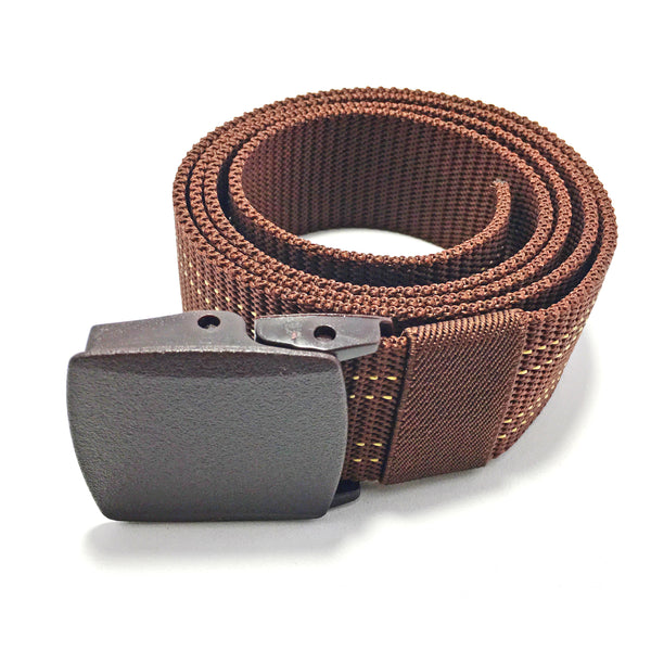 Ficuster Unisex Brown Plastic Buckle Dual Stitch Nylon Canvas Braided Belt