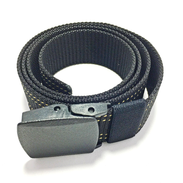 Ficuster Unisex Black Plastic Buckle Dual Stitch Nylon Canvas Braided Belt