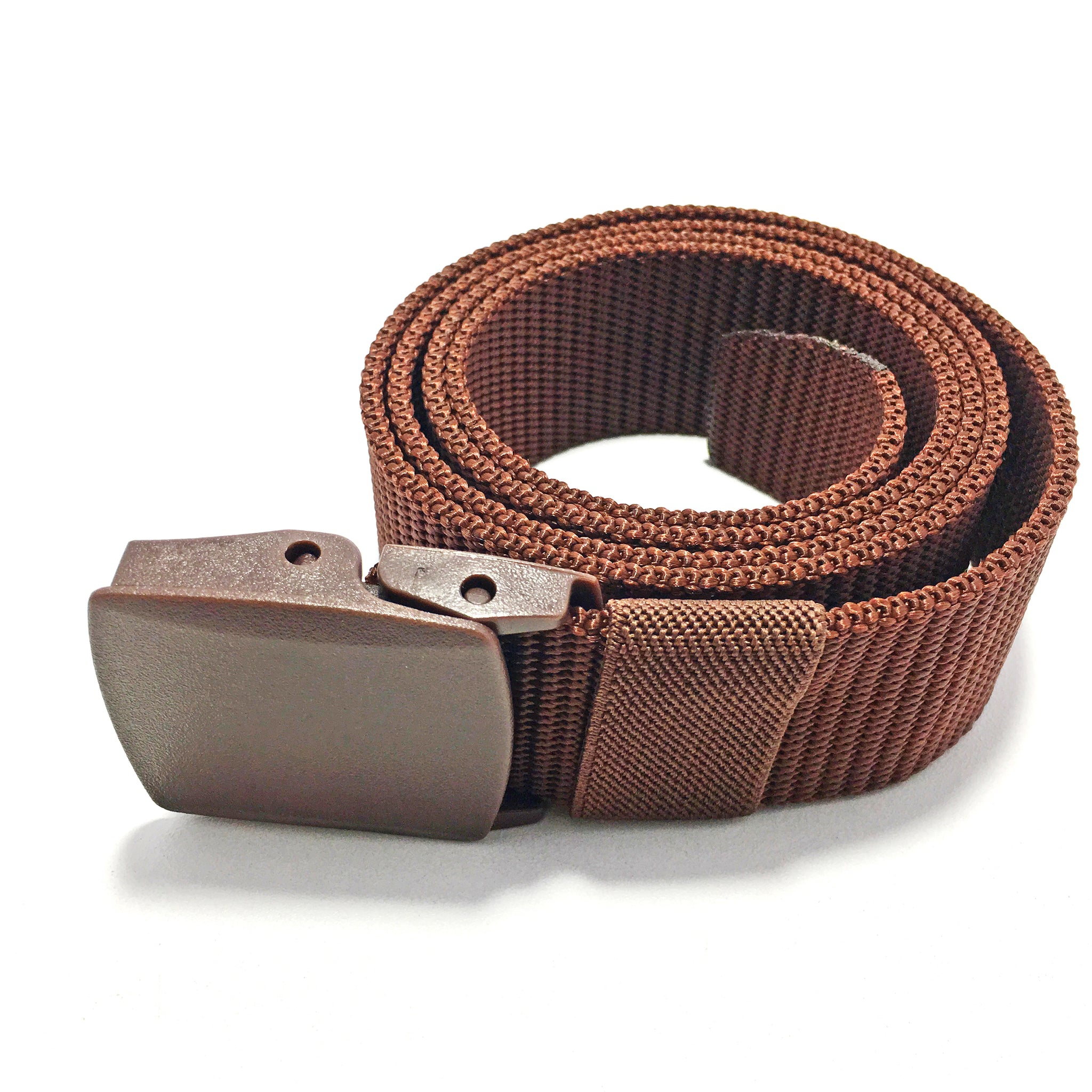 Ficuster Unisex Brown Plastic Buckle Nylon Canvas Braided Belt