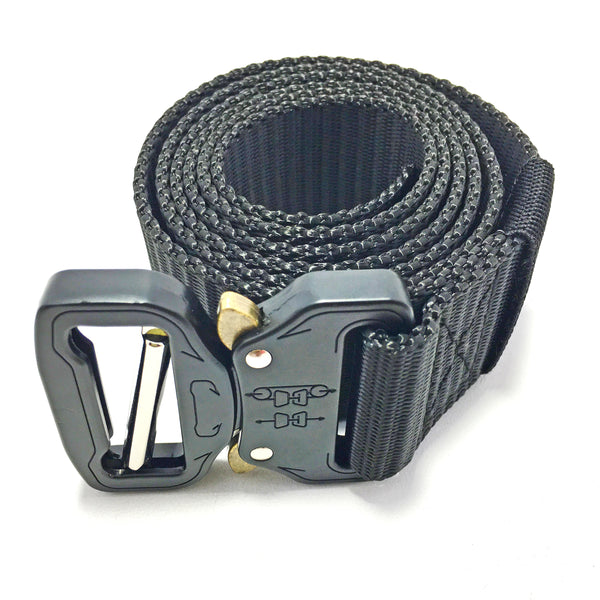 Ficuster Unisex Black Metal Push Lock Buckle Nylon Canvas Braided Belt
