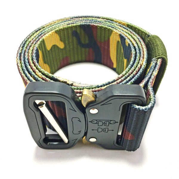Ficuster Unisex Light Green Camouflage Pattern Nylon Canvas Braided Belt