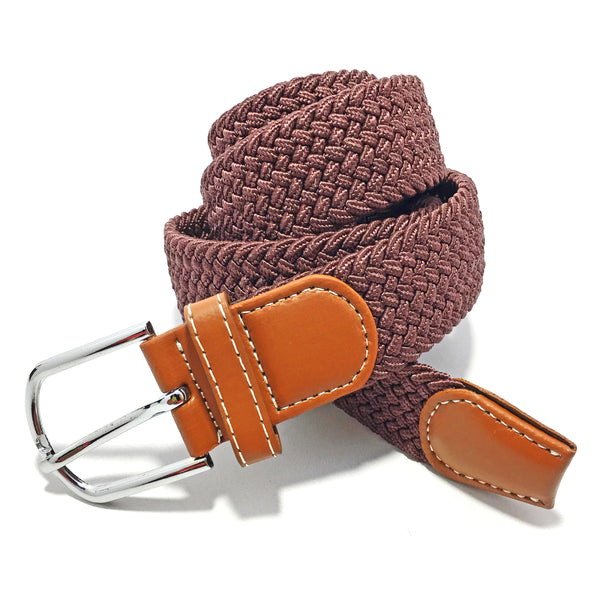 Ficuster Unisex Dark Brown Elastic Nylon Canvas Braided Belt