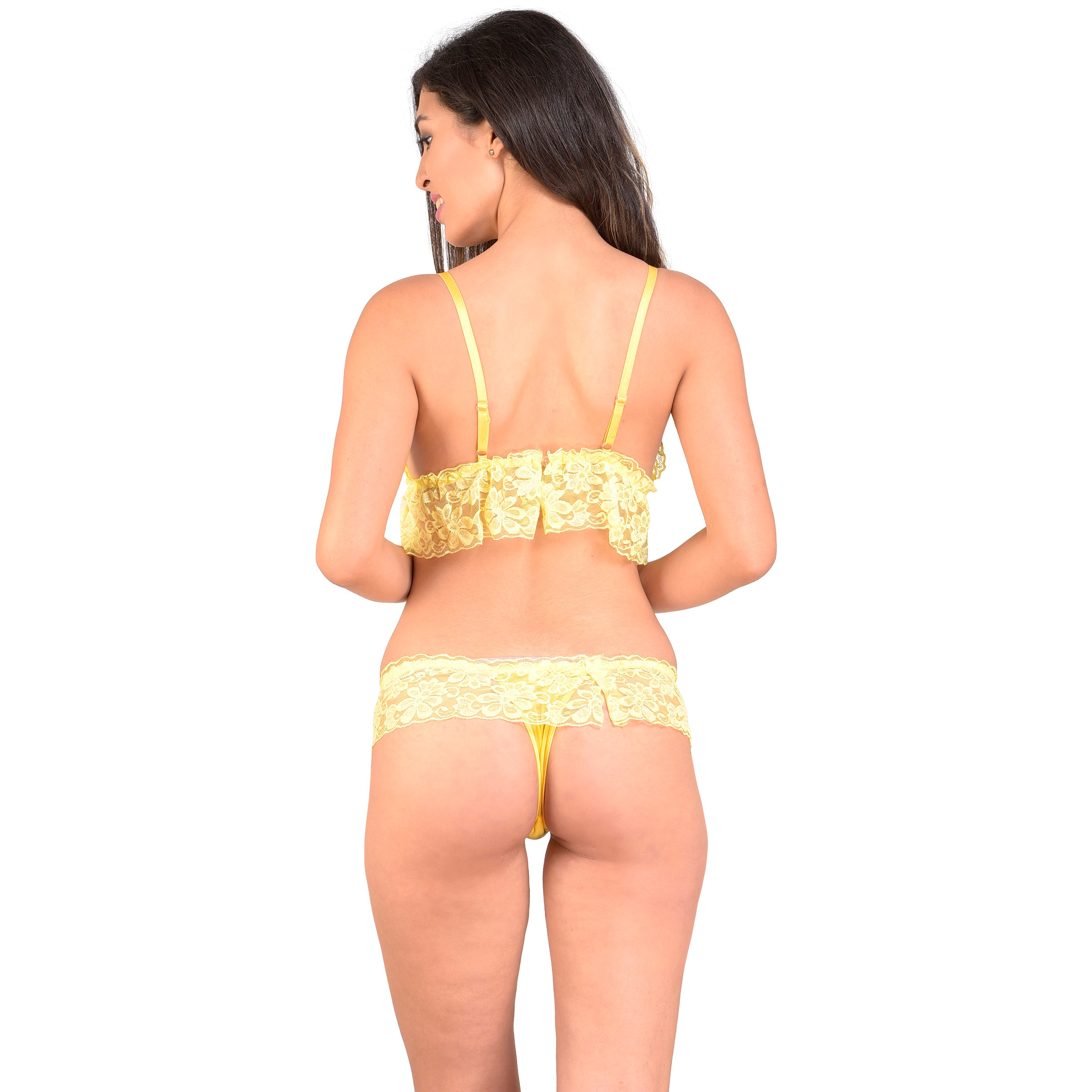 Ficuster Women Floral Lace Adjustable Straps Yellow Bra Panty Set