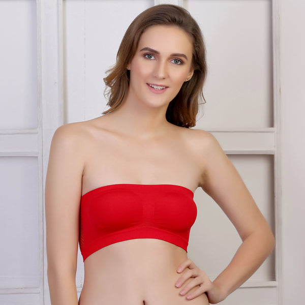 Ficuster Stretchable Bandeau Tube Red Bra