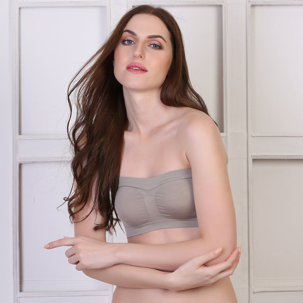 Ficuster Stretchable Bandeau Tube Grey Bra