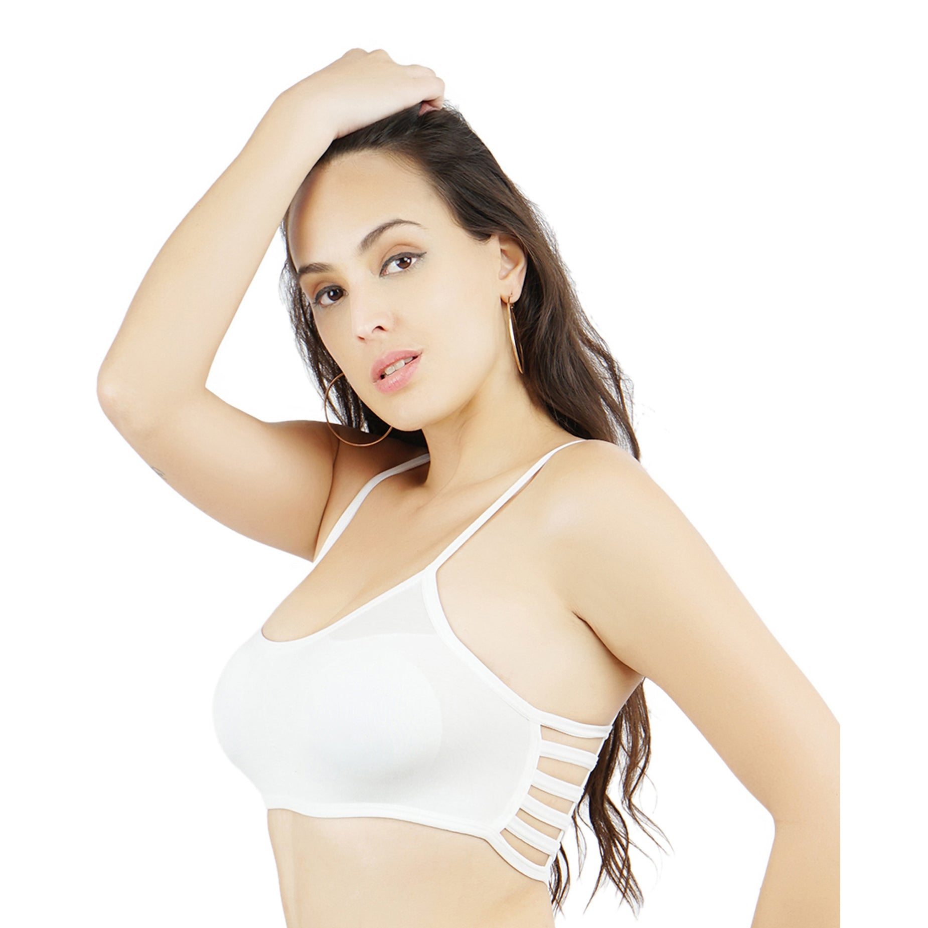Ficuster Stretchable Cotton Sports White Bralette