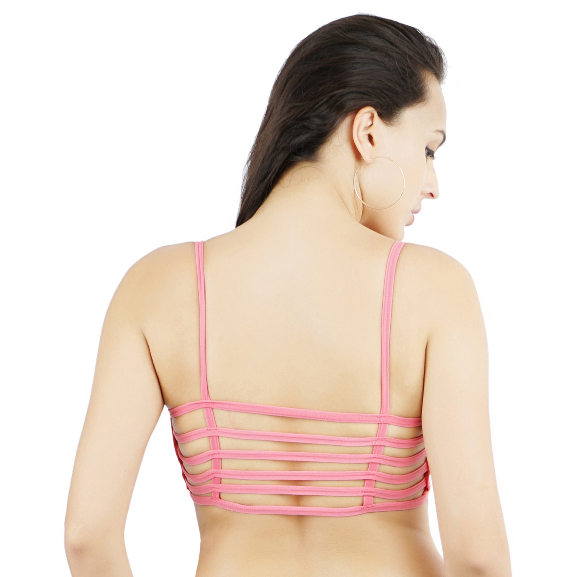 Ficuster Stretchable Removable Pad Pink Sports Bra
