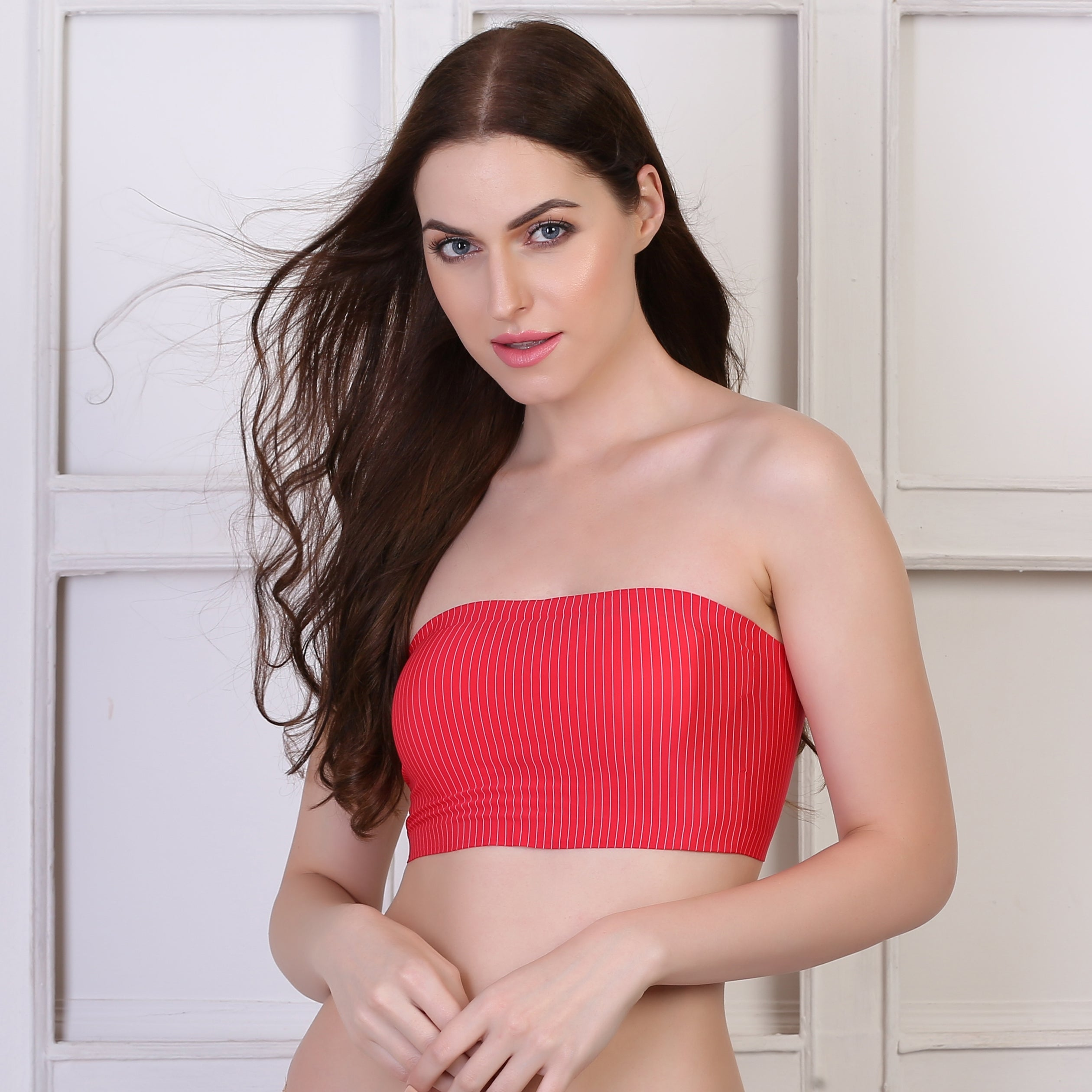 Ficuster Strapless Padded Bandeau Tube Red Bra