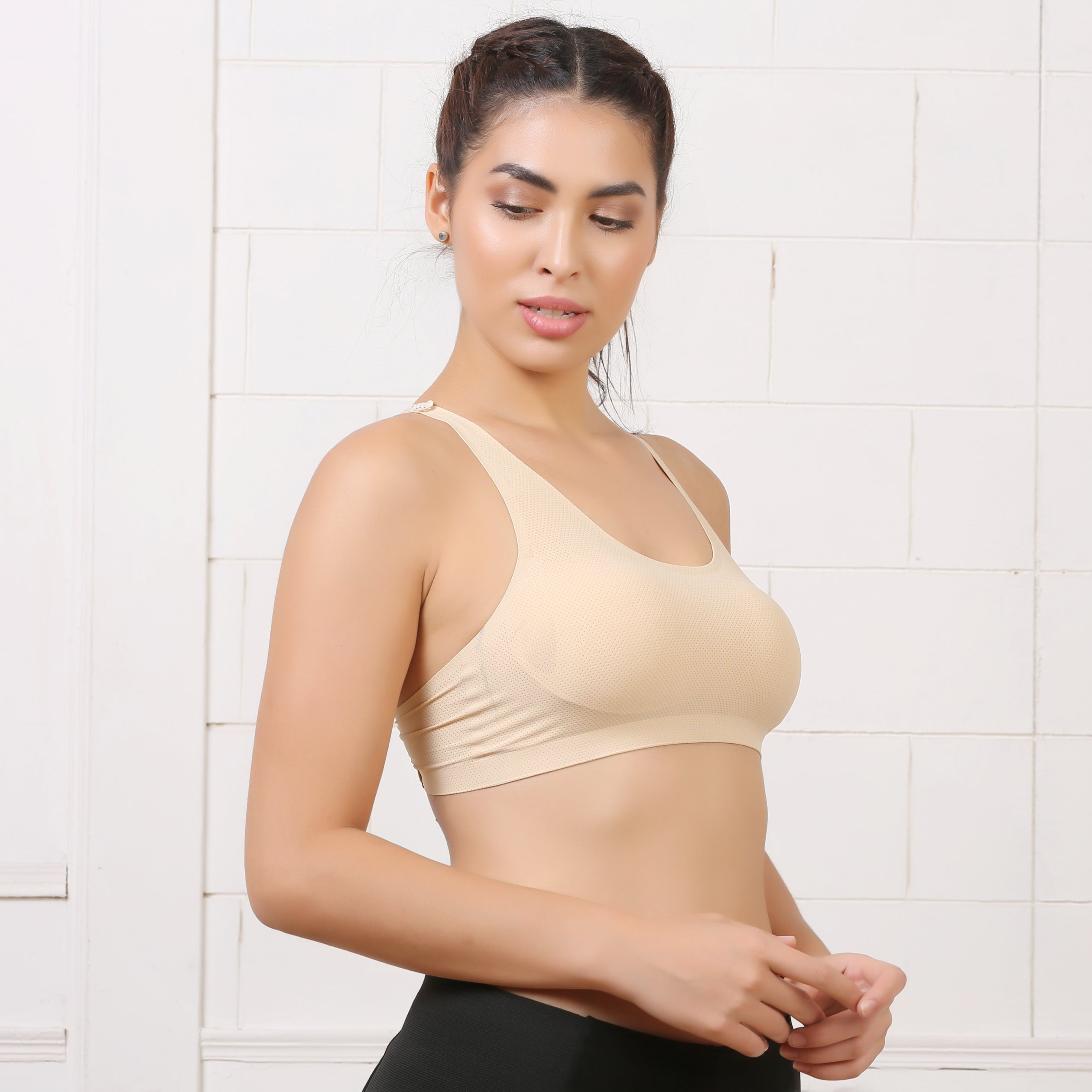 Ficuster Padded Stretchable Lacy Beige Bra